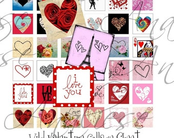 Wild at Heart - Instant Download - Digital Collage Sheet - 1 inch Square - 42 Different Images