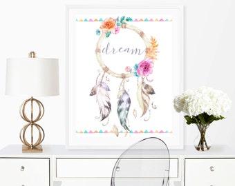 dreamcatcher print, dream catcher print, boho wall art, dream print, girls nursery art, feather wall art, tribal wall art, dream print