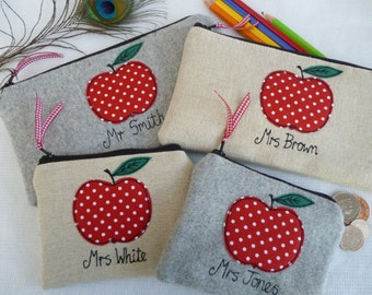 Handmade Personalised Teacher Coin Purse Wallet or Pencil Case Choice of size, fabric & wording, Grey wool or linen with red dotty apple