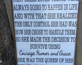 Courage Humor Grace SIgn,16x28, Rustic Wood Signs, Farmhouse Signs, Wall Décor, Lupytha Hermin quote