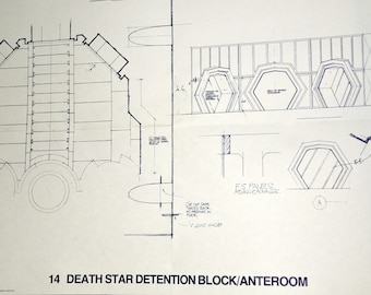 1977 DEATH STAR Detention Block / Anteroom Star Wars Vintage Blueprint Poster