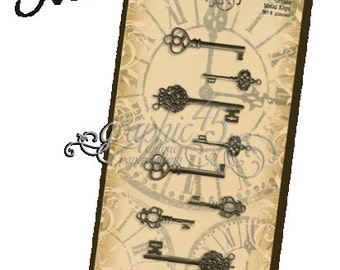 GRAPHIC 45 -  ANTIQUE KEYS -  ORNATe METal KEYs - EMBELLiSHMENTS - NeW