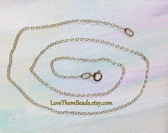 14k Gold Chain Necklace 1.5mm Cable Chain 17 inch Light Weight Layered Chain 14k Real Solid Gold Gossamer Pendant Chain by LoveThemBeads
