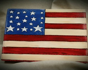 American Flag, patriotic, flag, old glory, sign,box,hand painted,fourth of july, wooden box sign shelf sitter