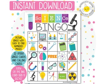 Science / Chemistry Printable Bingo Cards (30 Different Cards) - Instant Download