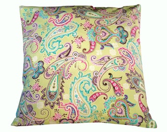 Decorative pillow cover, paisley fabric, pillow cover, 18X18 pillow cover, lime green paisley, accent pillow, accent pillow cover
