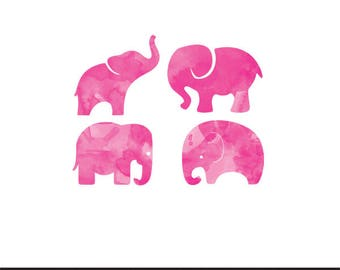 elephants pink watercolor clip art png svg dxf file file silhouette cricut baby shower kids animals clip art