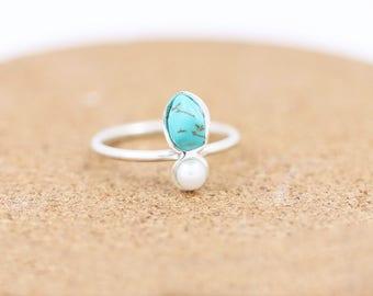 Sterling Silver Turquoise and Pearl Ring | Raw Turquoise |Boho |Bohemian Gemstone Ring | December Birthstone Ring | Saggitarius & Cappricorn