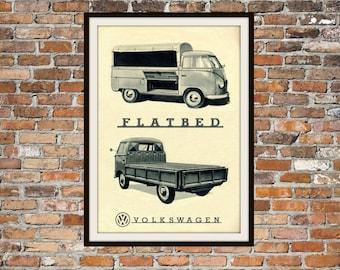 Volkswagen Bus Flatbed VW  -  Rendition of Advertisement - Vintage Advertising - Vintage Volkswagen - Print Drawing Art Item 0135