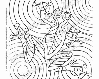"Lizards, Turtles, and Frogs ""Tree Frog Water Drop Circles"" Adult coloring page printable download from Artwork Anywhere ~hand drawn design~"