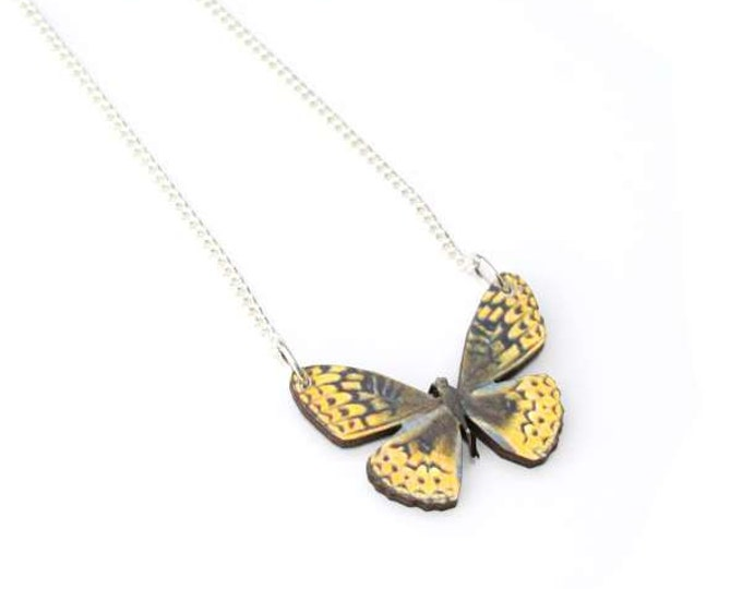 Yellow Butterfly Necklace, Wooden Pendant, Butterfly Illustration, Woodland, Animal Necklace, Wood Jewelry