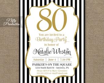 80th birthday invitations printable 80th birthday party 80th birthday invitations black gold glitter 80 year invitation eighty any age filmwisefo