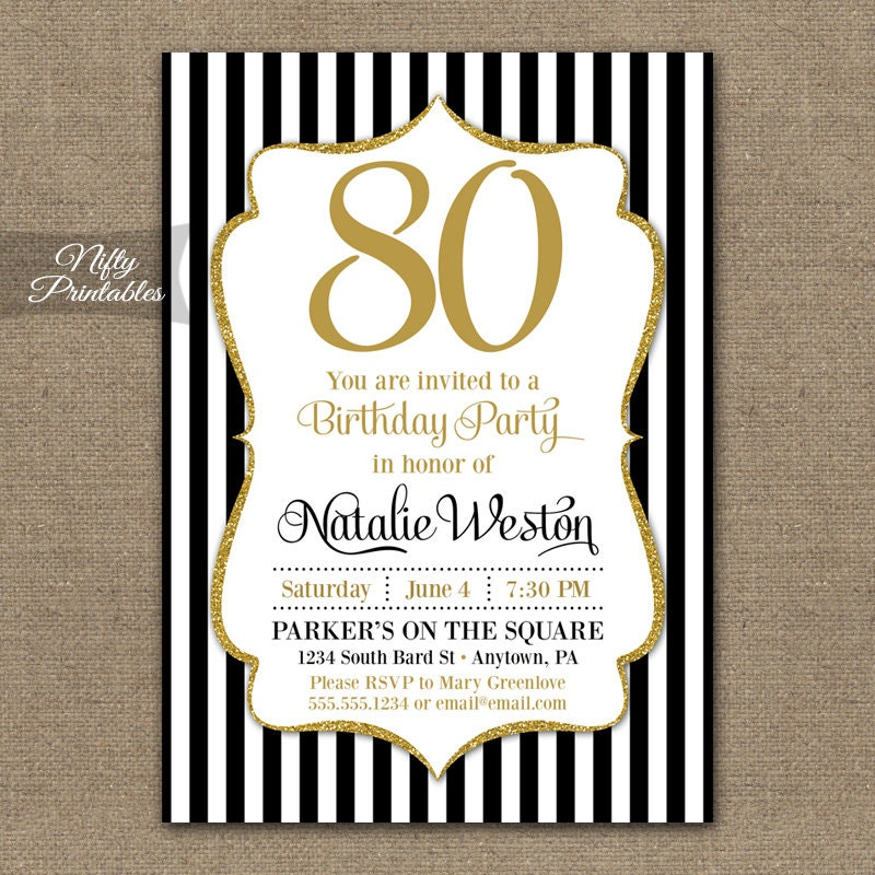 80th birthday invitations black gold glitter 80 year zoom filmwisefo Image collections