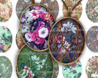 Victorian Floral Ovals 30 x 40mm for Cabochon Pendant Bezel Jewelry Magnet Digital Collage Sheet Printable Instant Download 134