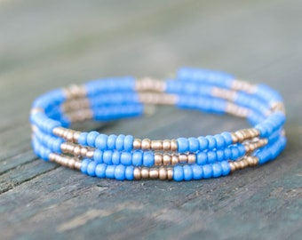 Three Layer Seed Bead Bracelet Memory Wire Blue and Gold