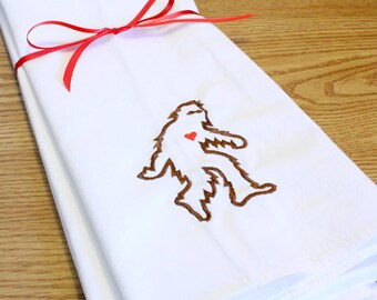 Embroidered Sasquatch Cotton Flour Sack Towel