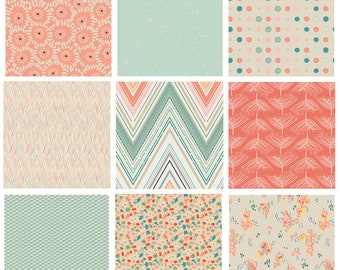 Floral Fabric Collection   Pat Bravo Fabrics   Modern Quilting Fabrics   Mint Coral Peach   Rapture Cultivate   Art Gallery Fabrics