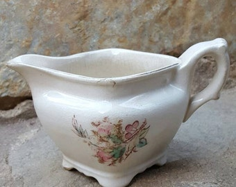 Vintage Gravy Boat- White Ironstone- Glasgow Ironstone China Warranted- Small Floral Pattern.