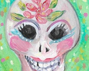 """Skull Skeleton Day of the Dead Original Painting  ACEO Art card """"Flower Skull"""""""