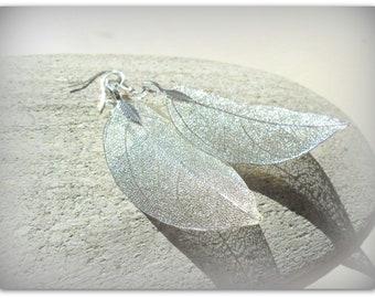 Long Silver Tone Earrings Skeleton Leaf Charm Earrings Long Dangle Earrings UK Shop Summer Accessories Etsy UK