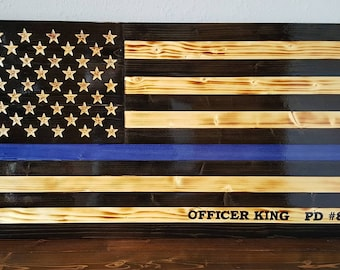 Rustic wood Thin Blue Line Flag/ Police officer wood flag/ Law enforcement wood flag/ Wooden American flag with blue line
