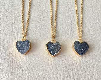Druzy Heart Necklace, Black Heart Necklace, Druzy Jewelry, Agate Necklace, druzy necklace