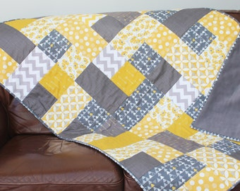 handmade patchwork contemporary quilt mustard yellow and grey modern sofa throw blanket quilted heirloom geometric patterns luxury home gift
