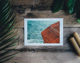 Ocean Beach Lighthouse Wall Art Print, Color Print, Ocean Photography Digital Download Wall Art, Downloadable, Red Roof