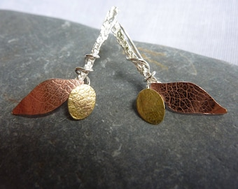 Autumn Leaves Earrings: Handmade Sterling Silver, Copper and Brass