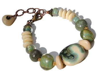 Bracelet in Vermeil, Copper, Brass, Green Ceramic & Glass, and White Bone (Moss Chilled By Autumn)