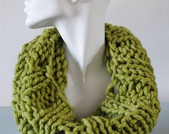 Pistachio Cowl - Light Green Infinity Scarf Reversible Chunky Knitted Bulky Merino Wool Winter Accessory Unisex Gift by Emma Dickie Design