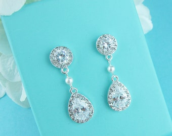 Clip on CZ earrings, pear cubic zirconia earrings, clip on wedding earrings, bridal jewelry, Melina Clip on Earrings