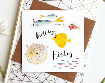 Birthday Fishes Funny Birthday card - Pun Birthday Card, Happy Birthday Card for him, Birthday Card for Her, Funny Bday Card, puffer fish