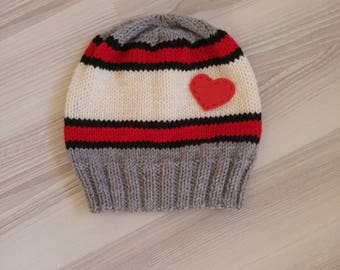 Knitting grey black white ivory red unisex hat, soft hot hat, heart hat gift, cozy, cunky, trendy beanie woman man hat by starknitting,