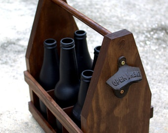 Beer Tote with Bottle Opener, Wooden Craft Beer Caddy Carrier - 6 Pack Groomsmen, Wedding, Father's Day Gift, Housewarming