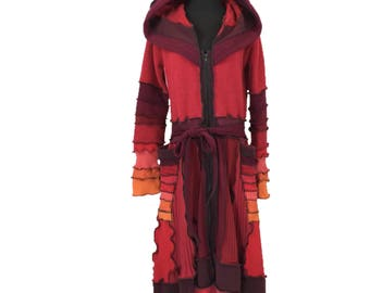"""Fire!"""" - Upcycled Sweater Coat - Recycled Hooded Sweater - FrankenThreads - Upcycled Hoodie - Sweater Coat"""