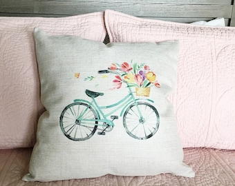 Bicycle Pillow Cover  - Farmhouse Pillow - Farmhouse Decor - Farmhouse Pillow Covers - Rustic Pillow - Rustic Decor  Decorative Pillow Cover
