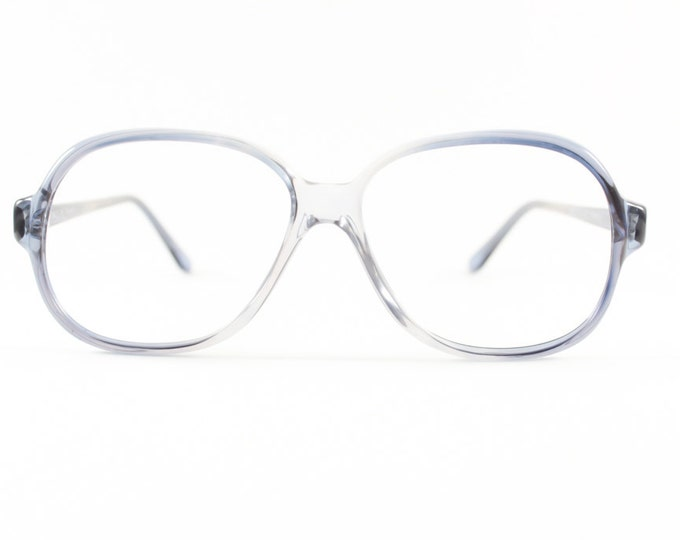80s Vintage Glasses   Clear Grey Blue Eyeglass Frame   NOS 1980s Round Eyeglasses - Toronto