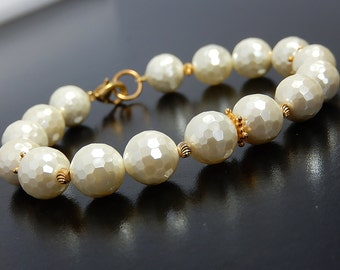 Pearl Shell Bracelet, Gold Bridal Bracelet, Ivory Vermeil Beaded Jewelry, Champagne Wedding