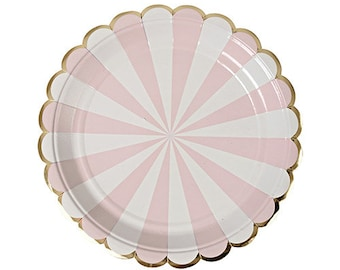 Pink Party Plates,Small Pink Plates,Large Pink Plates, Party Supplies, Pink Partyware, Pink and Gold, Pink Birthday Party, Its a Girl Shower