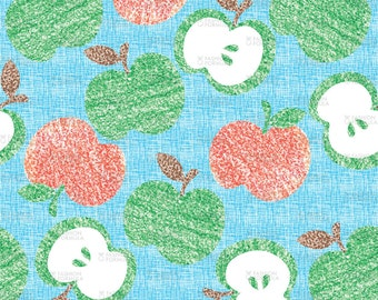 Crayon Apples Fabric by RuthRobson