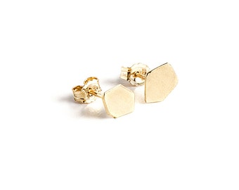 14K gold earrings, 14K gold post earrings, solid gold stud earring, geometric gold stud earrings, gold nugget earrings, single stud earring