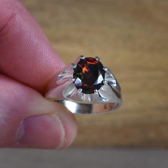 Black Fire Opal Mens Ring Gemstone Wedding Band Authentic