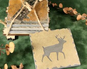 Natural Slate Coaster Set - Deer in Buff Stone