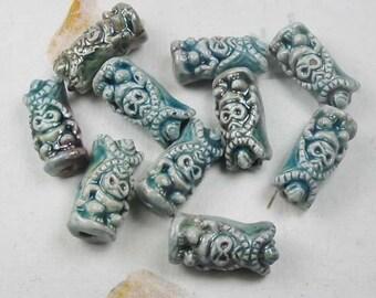 20 Raku Tiki God Beads