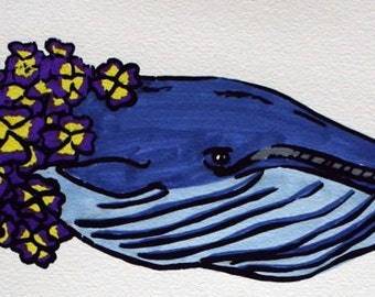 Handcolored Screen Print - Blue Whale with Pansies
