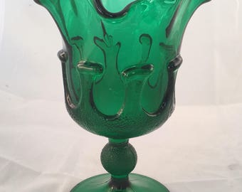 Vintage Emerald Green Artisan Fluted Glass Vase With Irregular Ruffled Edge