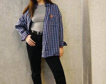 Oversized blue and white plaid shirt, flannel