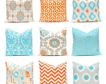 Orange Pillow Covers - Southwest Decor - Orange and Turquoise - Sofa Pillow Covers - 18 x 18 and More Sizes - Modern Throw Pillow Covers
