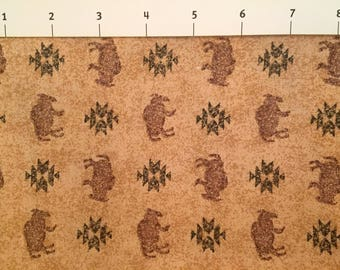 Cranston Collections Buffalo Quilt Fabric Brown and Green by the Half Yard